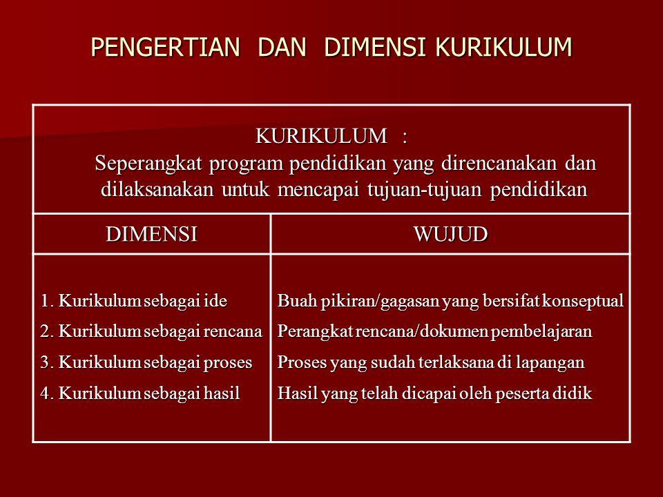 PENGERTIAN DAN DIMENSI KURIKULUM KURIKULUM : Seperangkat program pendidikan yang direncanakan dan dilaksanakan untuk mencapai tujuan-tujuan pendidikan