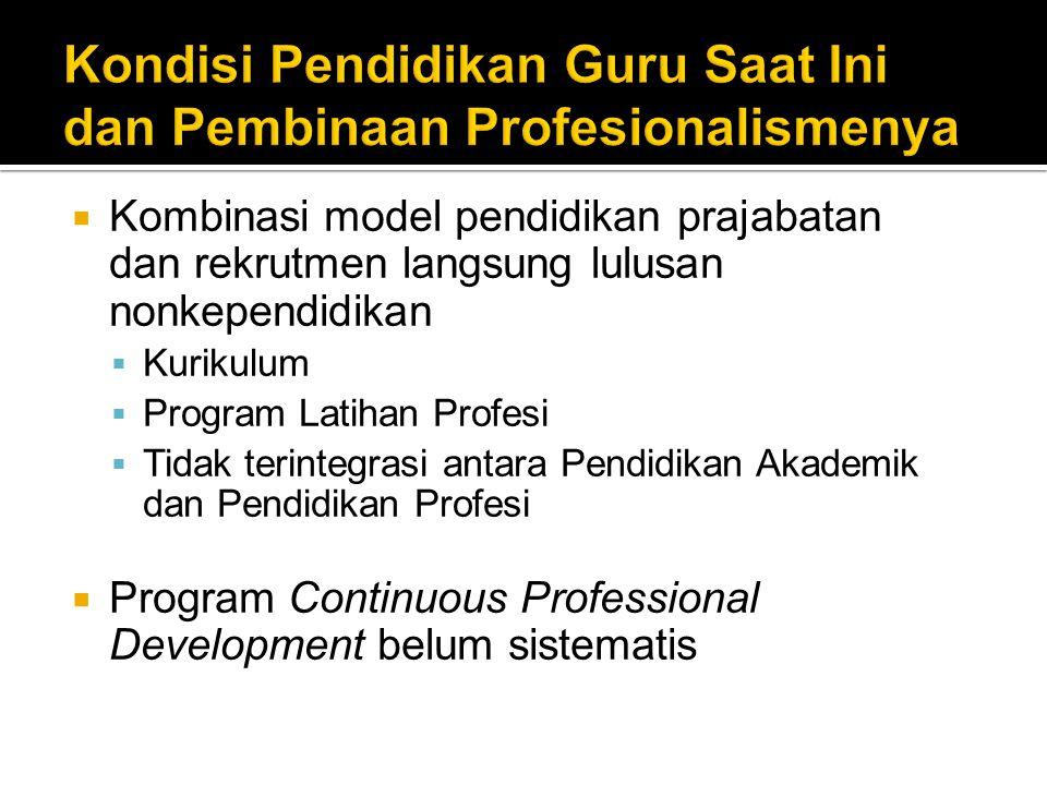  Kombinasi model pendidikan prajabatan dan rekrutmen langsung lulusan nonkependidikan  Kurikulum  Program Latihan Profesi  Tidak terintegrasi antara Pendidikan Akademik dan Pendidikan Profesi  Program Continuous Professional Development belum sistematis