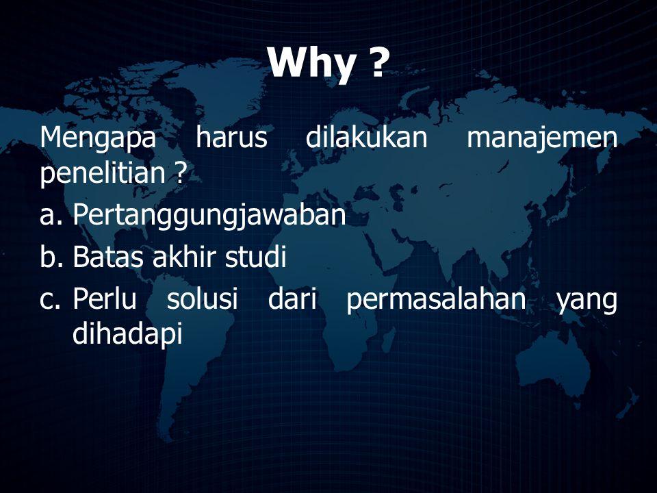 Why ? Mengapa harus dilakukan manajemen penelitian ? a.Pertanggungjawaban b.Batas akhir studi c.Perlu solusi dari permasalahan yang dihadapi