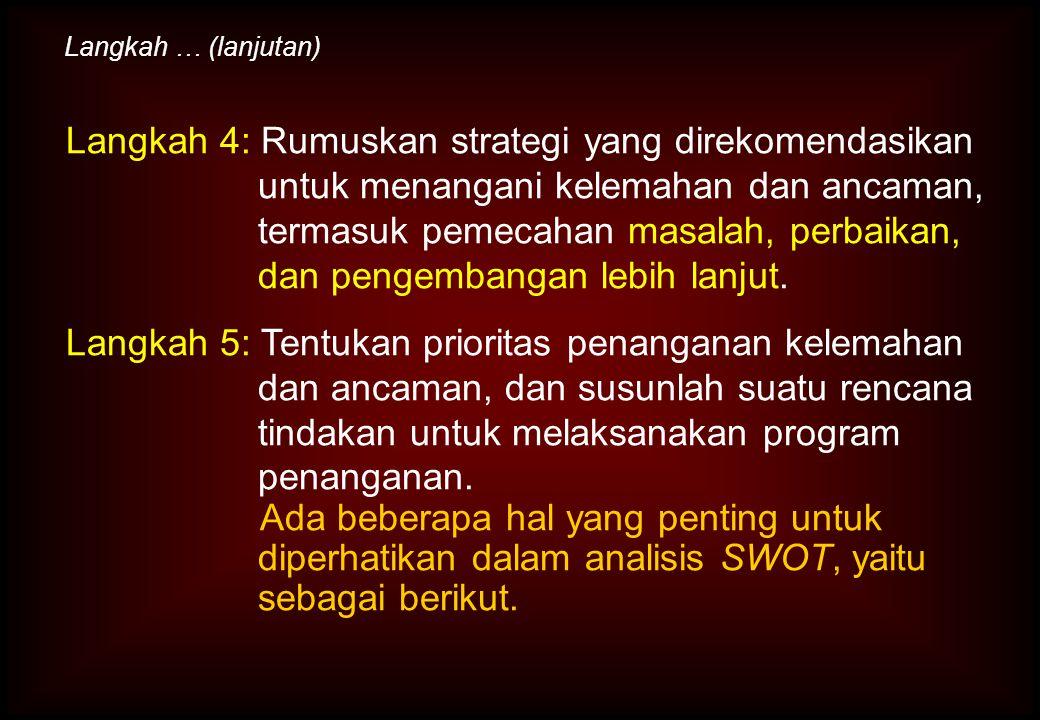 Langkah 4: Rumuskan strategi yang direkomendasikan untuk menangani kelemahan dan ancaman, termasuk pemecahan masalah, perbaikan, dan pengembangan lebi