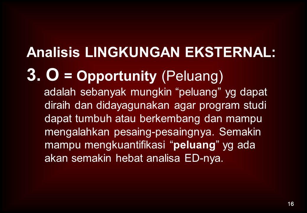 """Analisis LINGKUNGAN EKSTERNAL: 3. O = Opportunity (Peluang) adalah sebanyak mungkin """"peluang"""" yg dapat diraih dan didayagunakan agar program studi dap"""