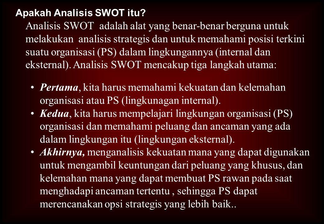Apakah Analisis SWOT itu? Analisis SWOT adalah alat yang benar-benar berguna untuk melakukan analisis strategis dan untuk memahami posisi terkini suat