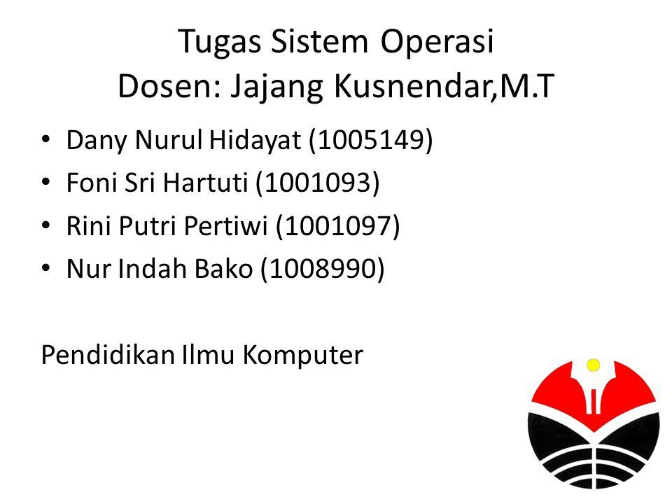 Tugas Sistem Operasi Dosen: Jajang Kusnendar,M.T Dany Nurul Hidayat (1005149) Foni Sri Hartuti (1001093) Rini Putri Pertiwi (1001097) Nur Indah Bako (