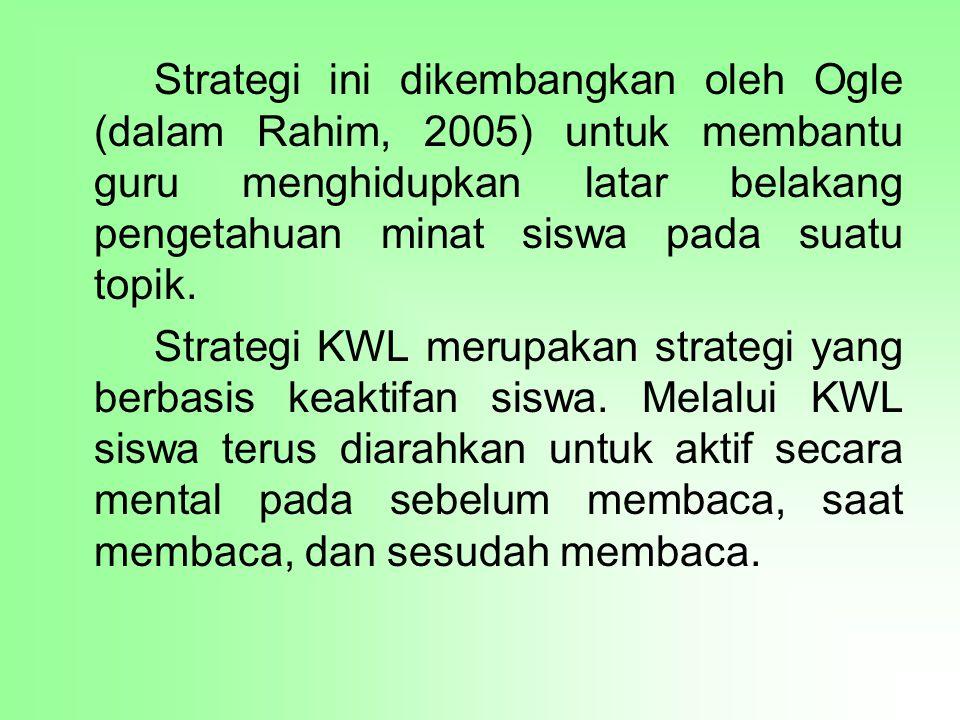 Strategi ini dikembangkan oleh Ogle (dalam Rahim, 2005) untuk membantu guru menghidupkan latar belakang pengetahuan minat siswa pada suatu topik. Stra