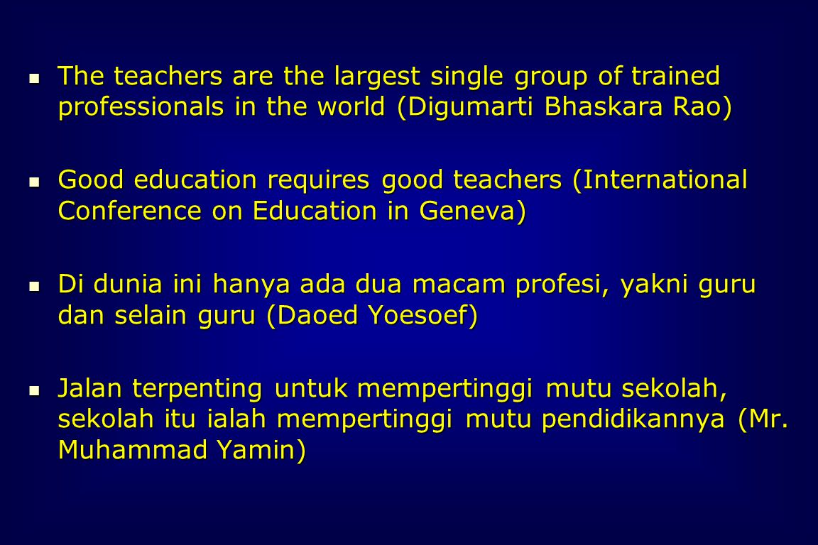 Conclusions In planning and conducting education process, the whole child must be considered.