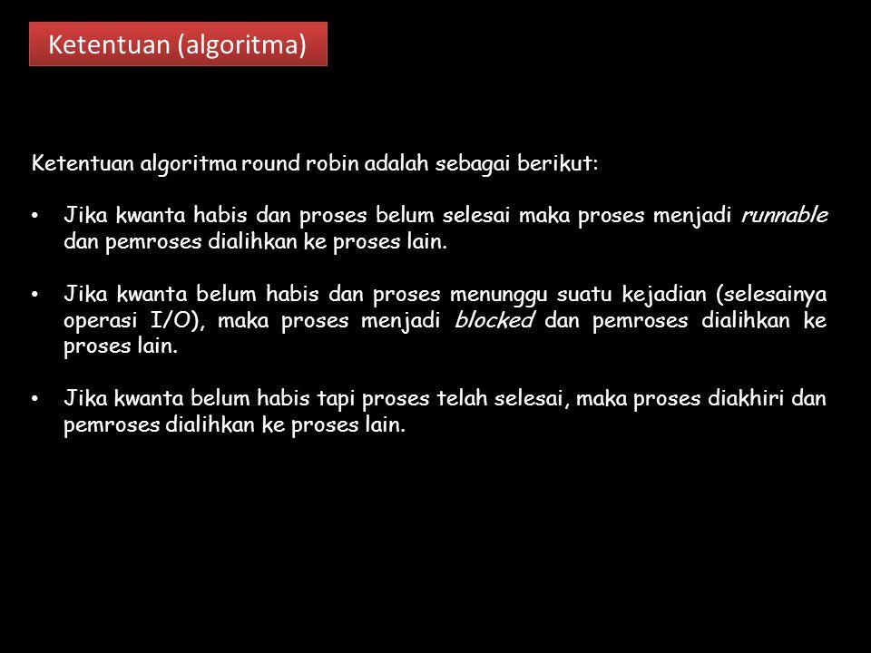 Ketentuan (algoritma) Ketentuan algoritma round robin adalah sebagai berikut: Jika kwanta habis dan proses belum selesai maka proses menjadi runnable dan pemroses dialihkan ke proses lain.