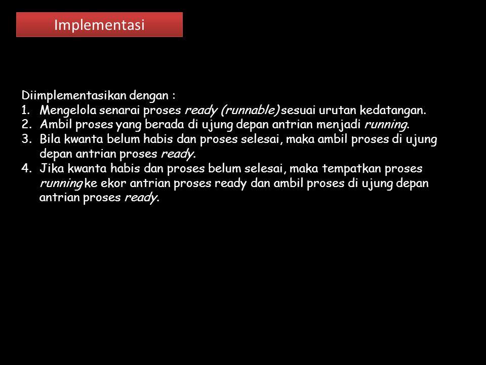 Implementasi Diimplementasikan dengan : 1.Mengelola senarai proses ready (runnable) sesuai urutan kedatangan. 2.Ambil proses yang berada di ujung depa