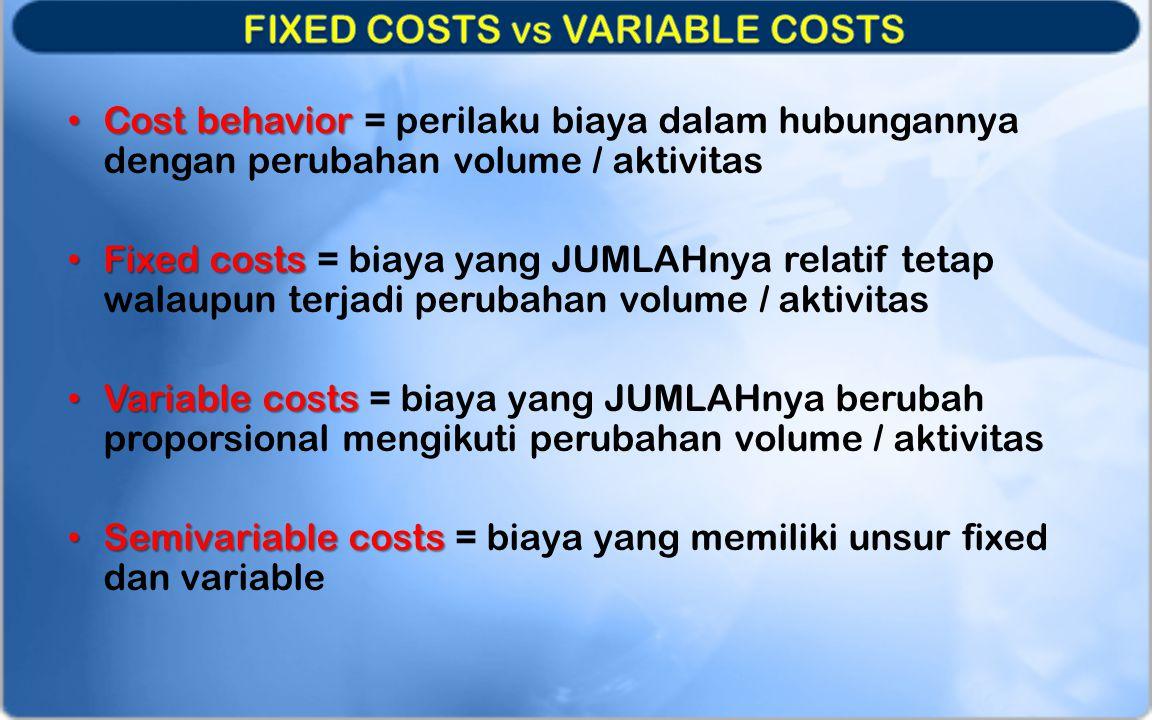 Cost behavior Cost behavior = perilaku biaya dalam hubungannya dengan perubahan volume / aktivitas Fixed costs Fixed costs = biaya yang JUMLAHnya rela