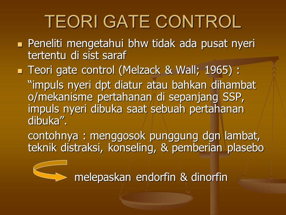TEORI GATE CONTROL Peneliti mengetahui bhw tidak ada pusat nyeri tertentu di sist saraf Peneliti mengetahui bhw tidak ada pusat nyeri tertentu di sist