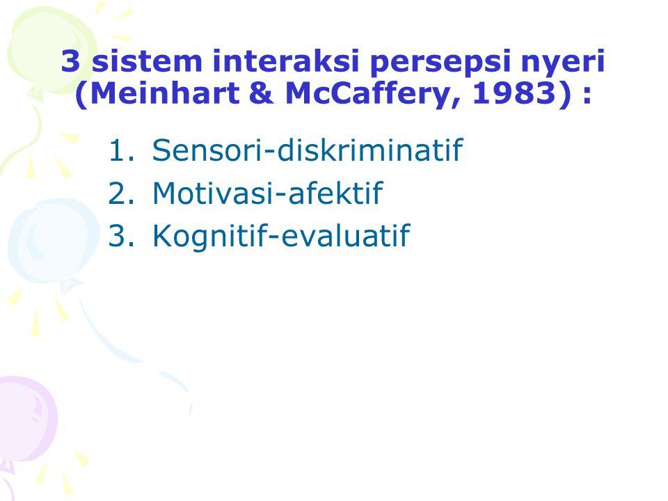 3 sistem interaksi persepsi nyeri (Meinhart & McCaffery, 1983) : 1.Sensori-diskriminatif 2.Motivasi-afektif 3.Kognitif-evaluatif