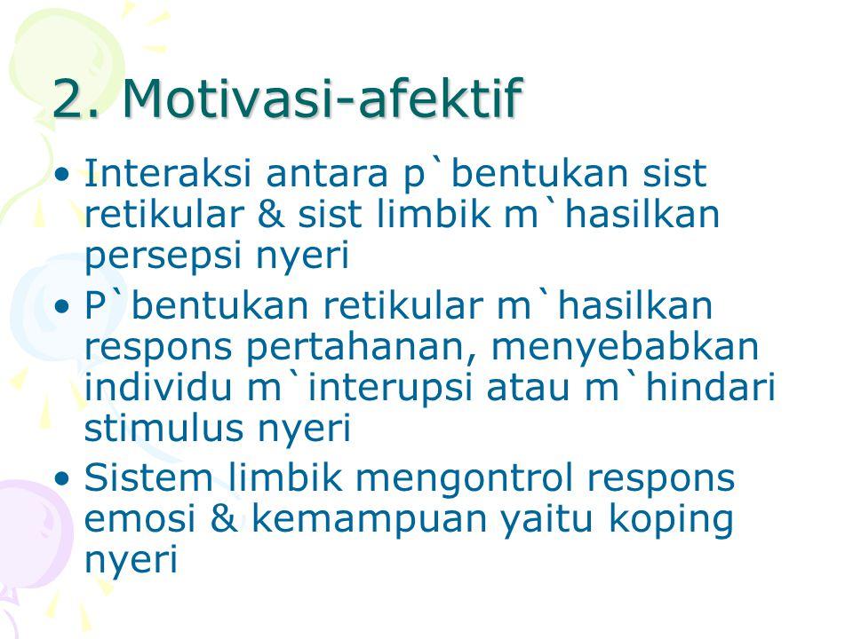 2. Motivasi-afektif Interaksi antara p`bentukan sist retikular & sist limbik m`hasilkan persepsi nyeri P`bentukan retikular m`hasilkan respons pertaha