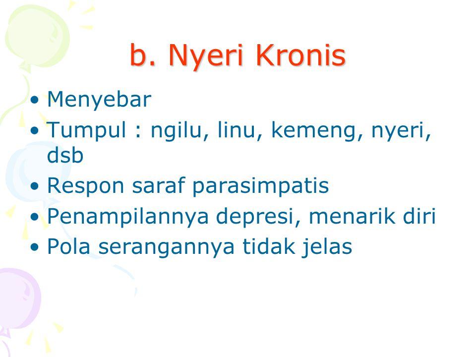 b. Nyeri Kronis Menyebar Tumpul : ngilu, linu, kemeng, nyeri, dsb Respon saraf parasimpatis Penampilannya depresi, menarik diri Pola serangannya tidak
