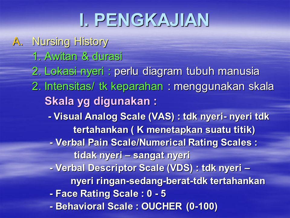 I. PENGKAJIAN A.Nursing History 1. Awitan & durasi 2. Lokasi nyeri : perlu diagram tubuh manusia 2. Intensitas/ tk keparahan : menggunakan skala Skala
