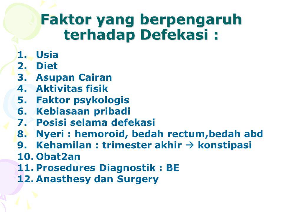 Faktor yang berpengaruh terhadap Defekasi : 1.Usia 2.Diet 3.Asupan Cairan 4.Aktivitas fisik 5.Faktor psykologis 6.Kebiasaan pribadi 7.Posisi selama defekasi 8.Nyeri : hemoroid, bedah rectum,bedah abd 9.Kehamilan : trimester akhir  konstipasi 10.Obat2an 11.Prosedures Diagnostik : BE 12.Anasthesy dan Surgery