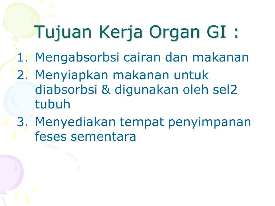 Tujuan Kerja Organ GI : 1.Mengabsorbsi cairan dan makanan 2.Menyiapkan makanan untuk diabsorbsi & digunakan oleh sel2 tubuh 3.Menyediakan tempat penyi