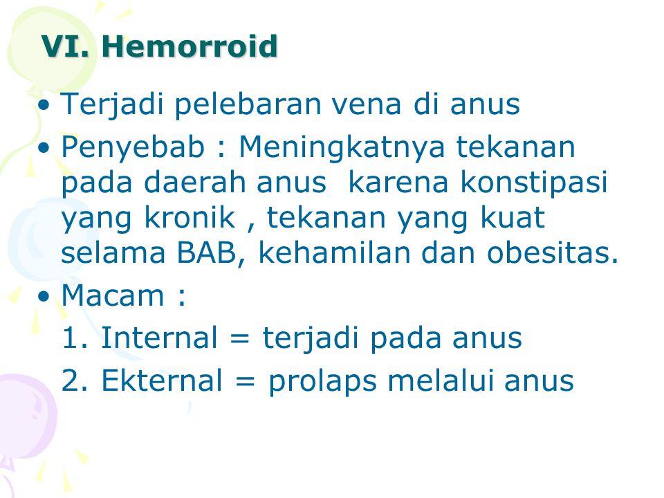 VI. Hemorroid Terjadi pelebaran vena di anus Penyebab : Meningkatnya tekanan pada daerah anus karena konstipasi yang kronik, tekanan yang kuat selama