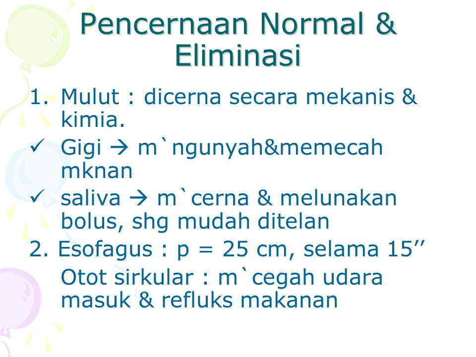 Pencernaan Normal & Eliminasi 1.Mulut : dicerna secara mekanis & kimia. Gigi  m`ngunyah&memecah mknan saliva  m`cerna & melunakan bolus, shg mudah d