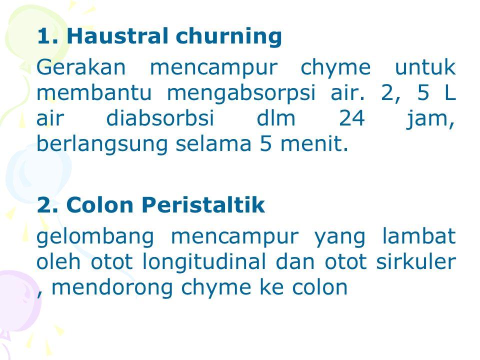 1.Haustral churning Gerakan mencampur chyme untuk membantu mengabsorpsi air.