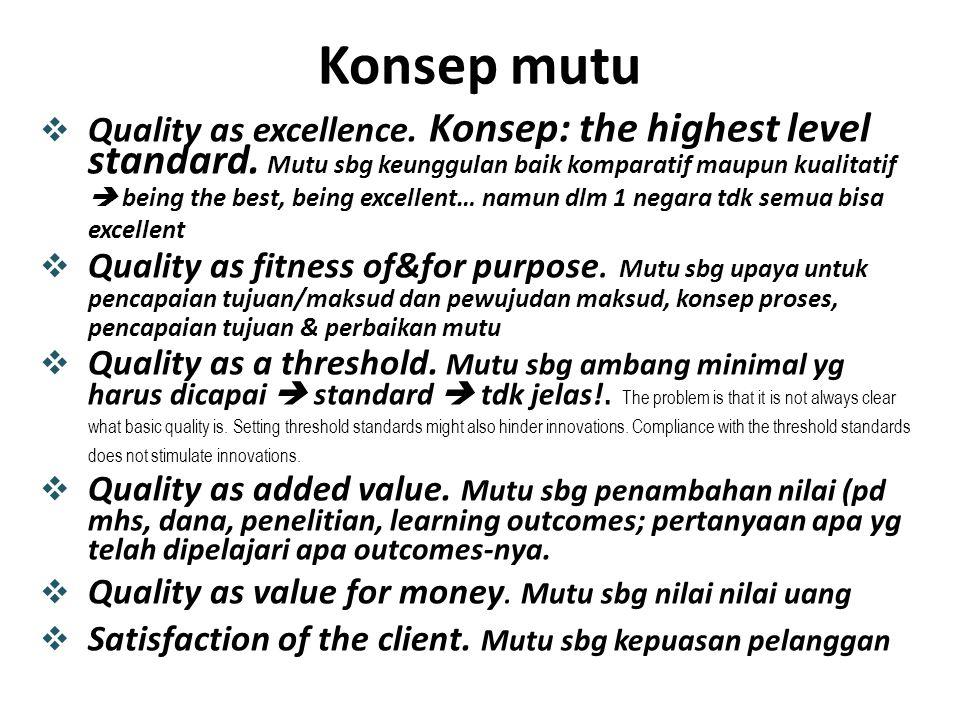 9/14/2014 BAN-PT NATIONAL ACCREDITATION AGENCY FOR HIGHER EDUCATION Tugas Utama asesor Audit, asesmen dan menilai: bahwa yg dianut&diterapkan oleh assessee dilaksanakan secara baik& konsisten;  Ukur setiap elemen (yg sesuai) dari sisi: (1)Keefektifan/keberhasilan pendekatan, model, upaya strategi,dll (2)Adequacy (kecukupan/memadai) (3)Appropriateness (kewajaran dan kepatutan) (4)Produktifitas (per satuan input atau proses) (5)Efisiensi (bandingkan proses terhadap input yg digunakan) (6)Viability (kemapu tumbuhan/berkembang di masa depan) (7)Sustainability (keberlanjutan masa depan) (8)Akuntabilitas (sikap/perilaku/bukti untuk mau bertanggungjawab) (9)Tanggungjawab Ukurlah tiap butir Kriteria Akreditasi dari 9 (sembilan) aspek ini secara mandiri (expert judgement), obyektif & imparsial