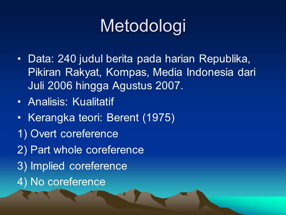 Metodologi Data: 240 judul berita pada harian Republika, Pikiran Rakyat, Kompas, Media Indonesia dari Juli 2006 hingga Agustus 2007. Analisis: Kualita