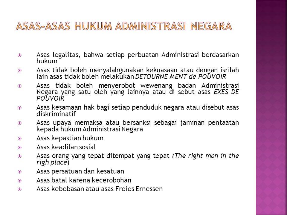  Asas legalitas, bahwa setiap perbuatan Administrasi berdasarkan hukum  Asas tidak boleh menyalahgunakan kekuasaan atau dengan isrilah lain asas tid