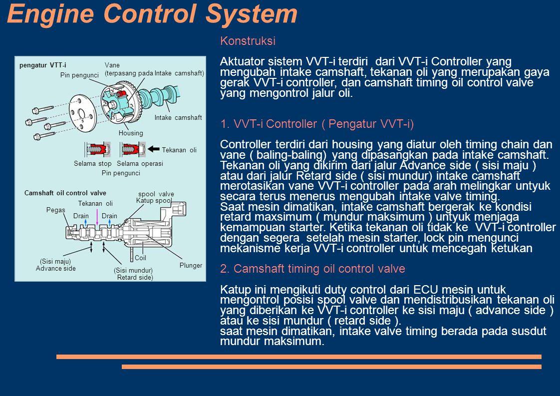 Engine Control System pengatur VTT-i Pin pengunci Vane (terpasang pada Intake camshaft) Intake camshaft Housing Tekanan oli Selama stopSelama operasi