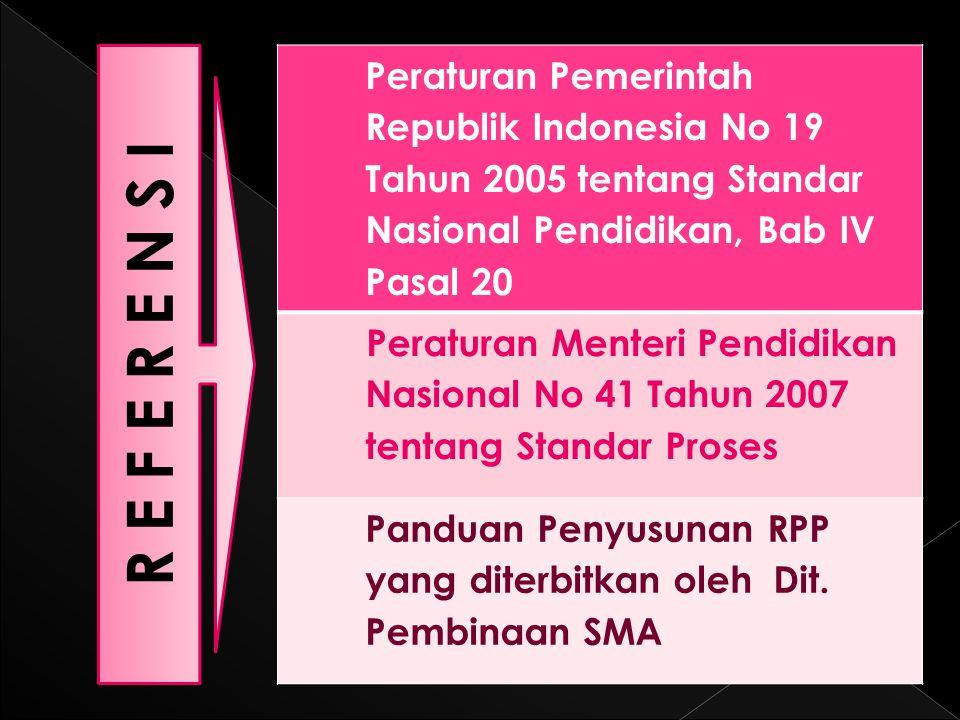 Peraturan Pemerintah Republik Indonesia No 19 Tahun 2005 tentang Standar Nasional Pendidikan, Bab IV Pasal 20 Peraturan Menteri Pendidikan Nasional No 41 Tahun 2007 tentang Standar Proses Panduan Penyusunan RPP yang diterbitkan oleh Dit.