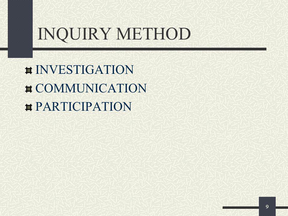 9 INQUIRY METHOD INVESTIGATION COMMUNICATION PARTICIPATION
