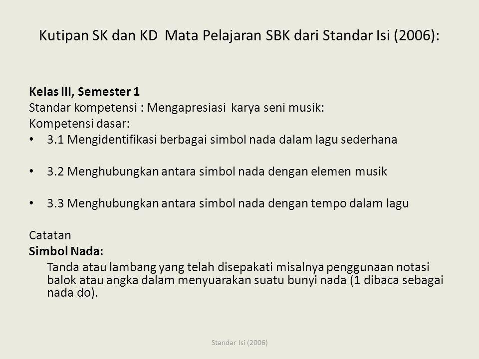 Kutipan SK dan KD Mata Pelajaran SBK dari Standar Isi (2006): Kelas III, Semester 1 Standar kompetensi : Mengapresiasi karya seni musik: Kompetensi dasar: 3.1 Mengidentifikasi berbagai simbol nada dalam lagu sederhana 3.2 Menghubungkan antara simbol nada dengan elemen musik 3.3 Menghubungkan antara simbol nada dengan tempo dalam lagu Catatan Simbol Nada: Tanda atau lambang yang telah disepakati misalnya penggunaan notasi balok atau angka dalam menyuarakan suatu bunyi nada (1 dibaca sebagai nada do).