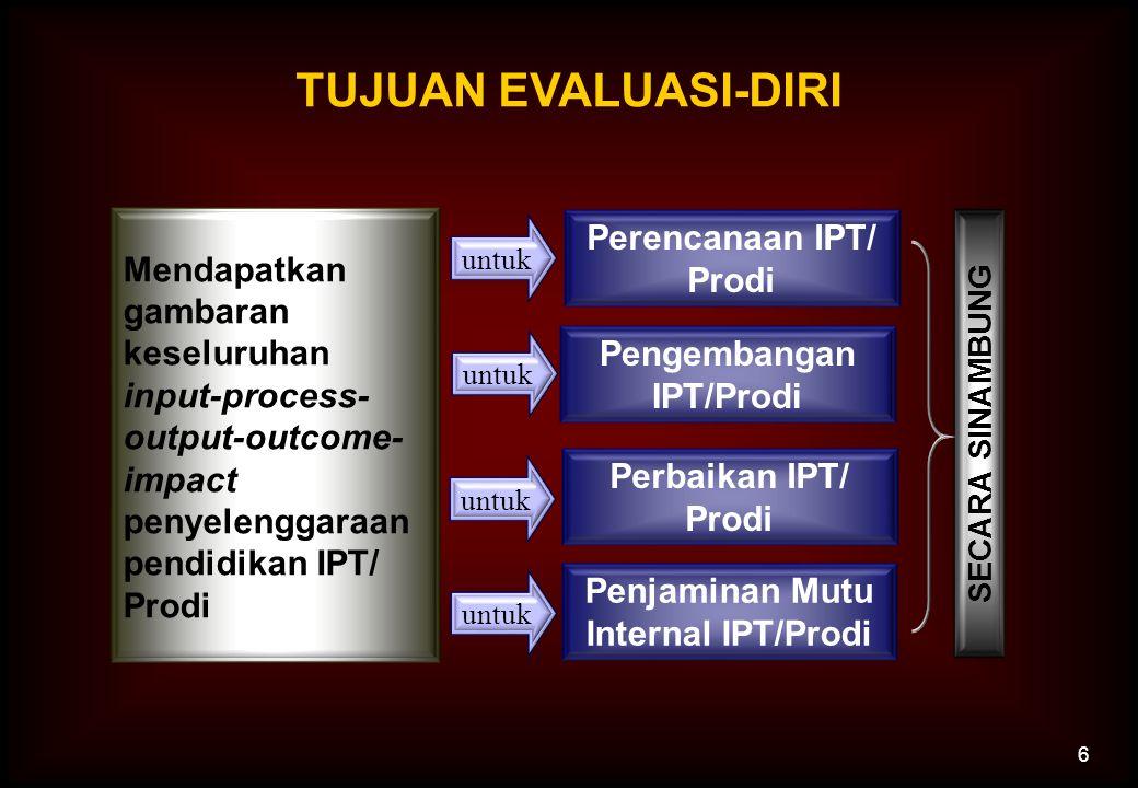 6 TUJUAN EVALUASI-DIRI Mendapatkan gambaran keseluruhan input-process- output-outcome- impact penyelenggaraan pendidikan IPT/ Prodi Pengembangan IPT/P
