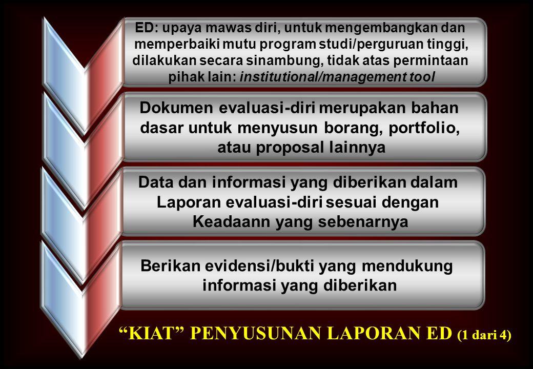 Berikan evidensi/bukti yang mendukung informasi yang diberikan Data dan informasi yang diberikan dalam Laporan evaluasi-diri sesuai dengan Keadaann ya