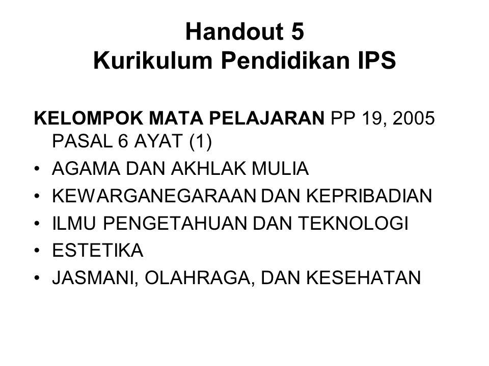 Handout 5 Kurikulum Pendidikan IPS KELOMPOK MATA PELAJARAN PP 19, 2005 PASAL 6 AYAT (1) AGAMA DAN AKHLAK MULIA KEWARGANEGARAAN DAN KEPRIBADIAN ILMU PE