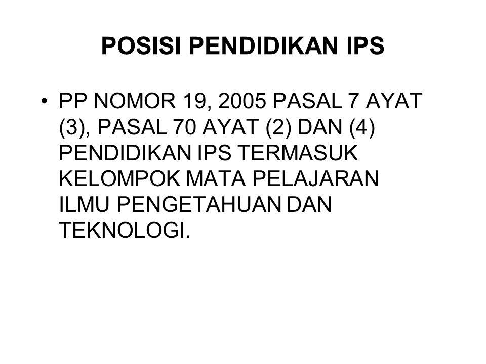 POSISI PENDIDIKAN IPS PP NOMOR 19, 2005 PASAL 7 AYAT (3), PASAL 70 AYAT (2) DAN (4) PENDIDIKAN IPS TERMASUK KELOMPOK MATA PELAJARAN ILMU PENGETAHUAN D