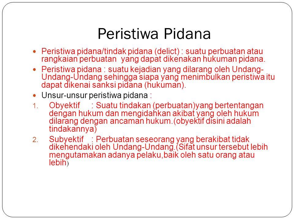 Peristiwa Pidana Peristiwa pidana/tindak pidana (delict) : suatu perbuatan atau rangkaian perbuatan yang dapat dikenakan hukuman pidana. Peristiwa pid