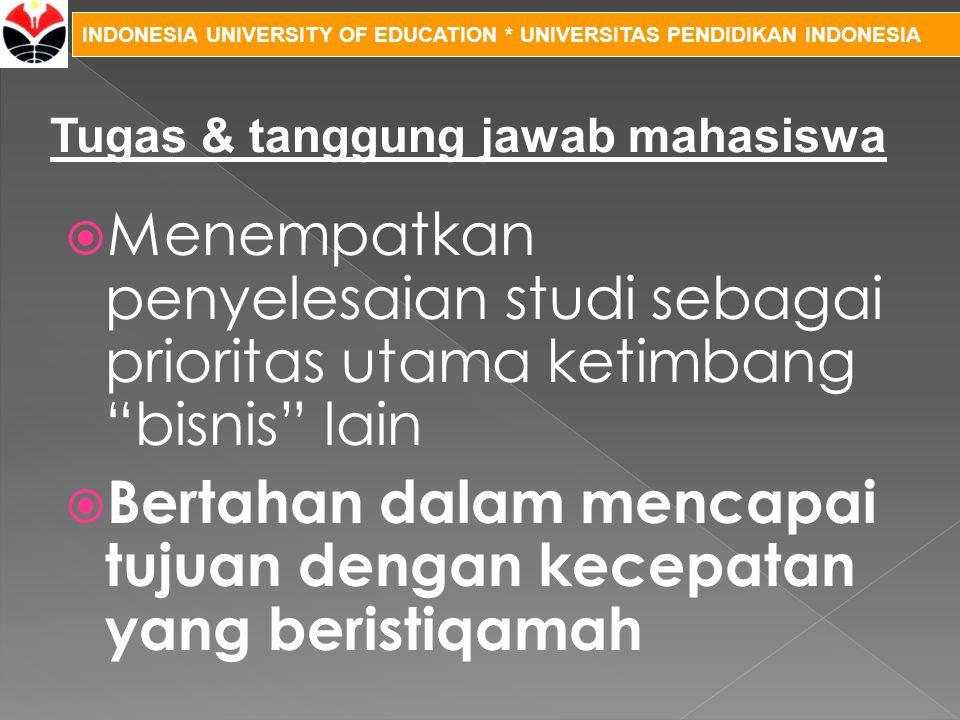 """INDONESIA UNIVERSITY OF EDUCATION * UNIVERSITAS PENDIDIKAN INDONESIA  Menempatkan penyelesaian studi sebagai prioritas utama ketimbang """"bisnis"""" lain"""
