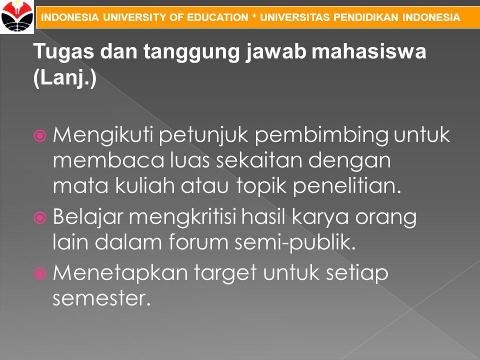 INDONESIA UNIVERSITY OF EDUCATION * UNIVERSITAS PENDIDIKAN INDONESIA  Mengikuti petunjuk pembimbing untuk membaca luas sekaitan dengan mata kuliah at