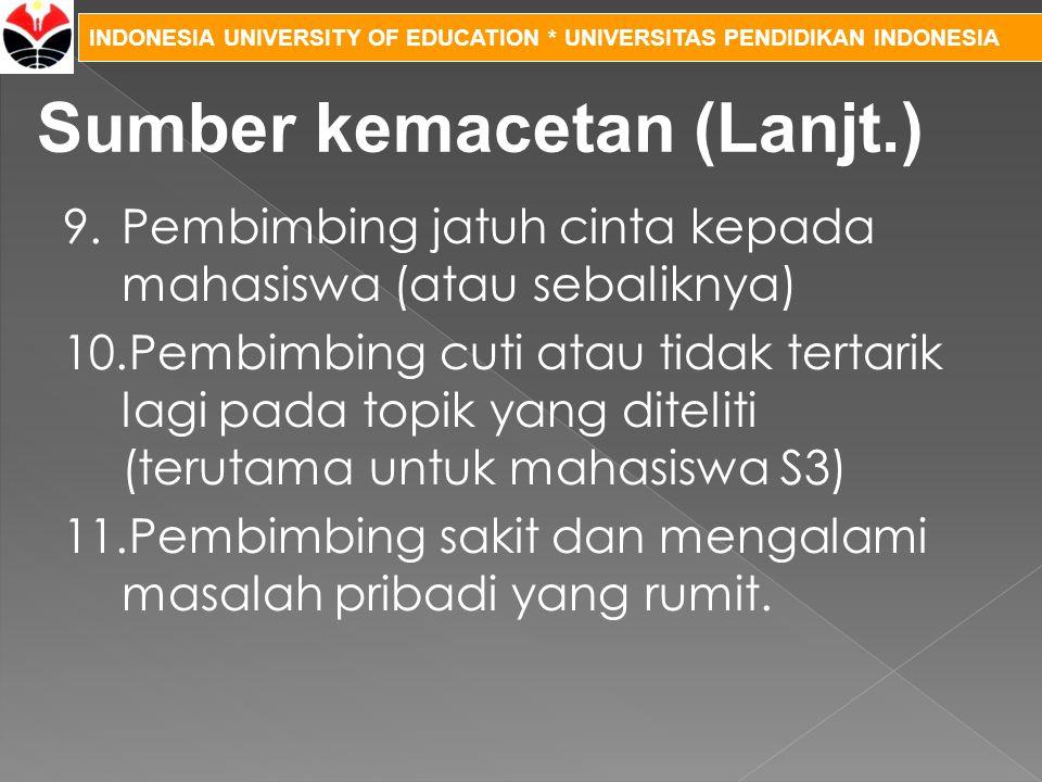 INDONESIA UNIVERSITY OF EDUCATION * UNIVERSITAS PENDIDIKAN INDONESIA 9.Pembimbing jatuh cinta kepada mahasiswa (atau sebaliknya) 10.Pembimbing cuti at