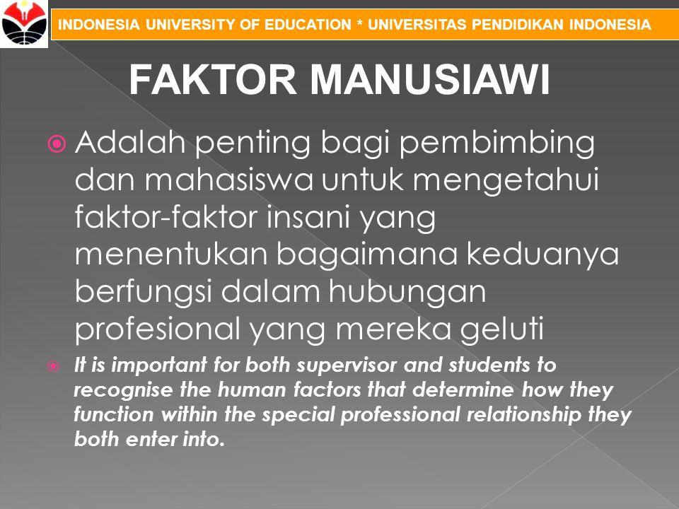 INDONESIA UNIVERSITY OF EDUCATION * UNIVERSITAS PENDIDIKAN INDONESIA  Adalah penting bagi pembimbing dan mahasiswa untuk mengetahui faktor-faktor ins
