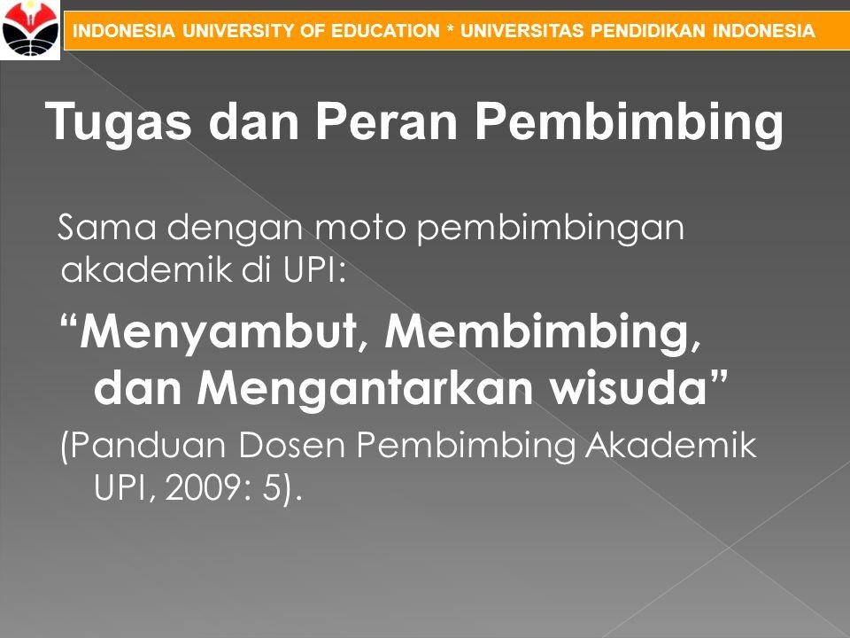 """INDONESIA UNIVERSITY OF EDUCATION * UNIVERSITAS PENDIDIKAN INDONESIA Sama dengan moto pembimbingan akademik di UPI: """"Menyambut, Membimbing, dan Mengan"""