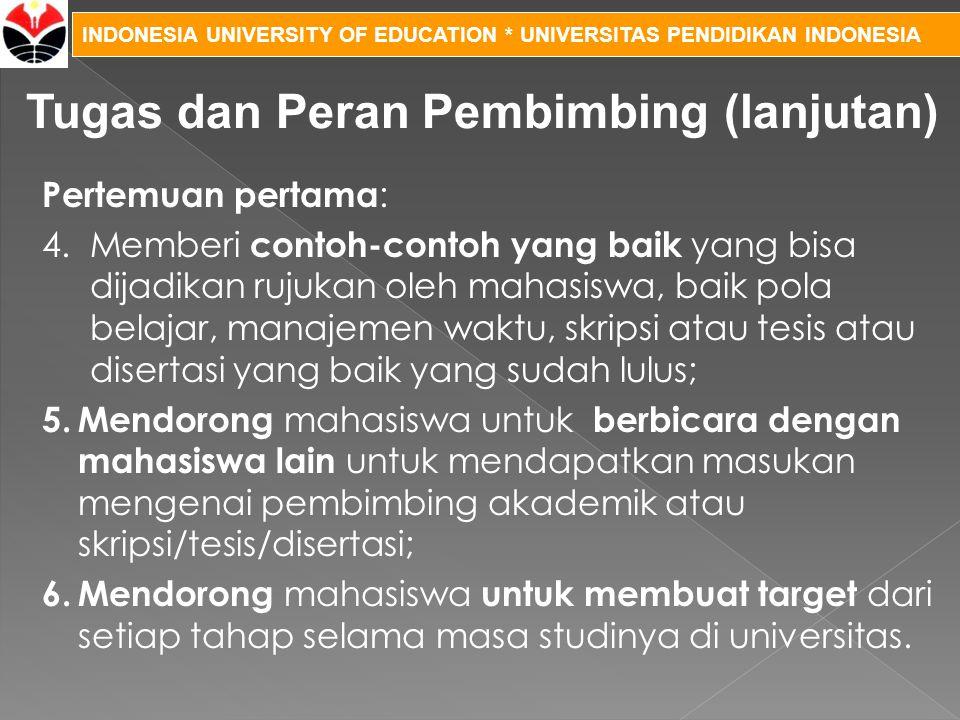 INDONESIA UNIVERSITY OF EDUCATION * UNIVERSITAS PENDIDIKAN INDONESIA Pertemuan pertama : 4.Memberi contoh-contoh yang baik yang bisa dijadikan rujukan