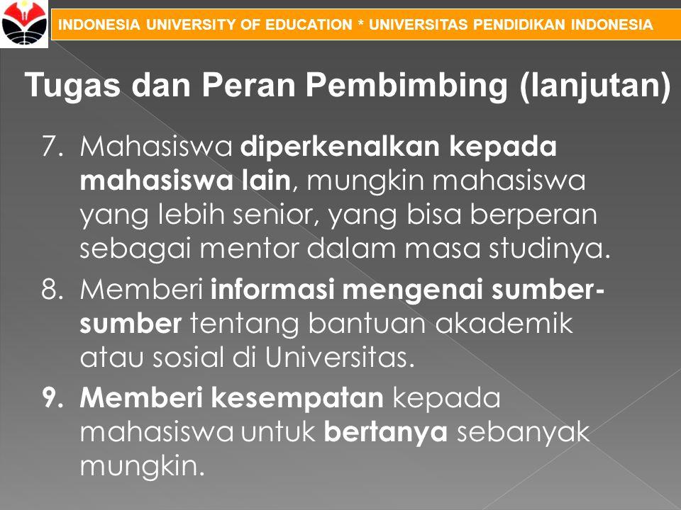 INDONESIA UNIVERSITY OF EDUCATION * UNIVERSITAS PENDIDIKAN INDONESIA 7.Mahasiswa diperkenalkan kepada mahasiswa lain, mungkin mahasiswa yang lebih sen