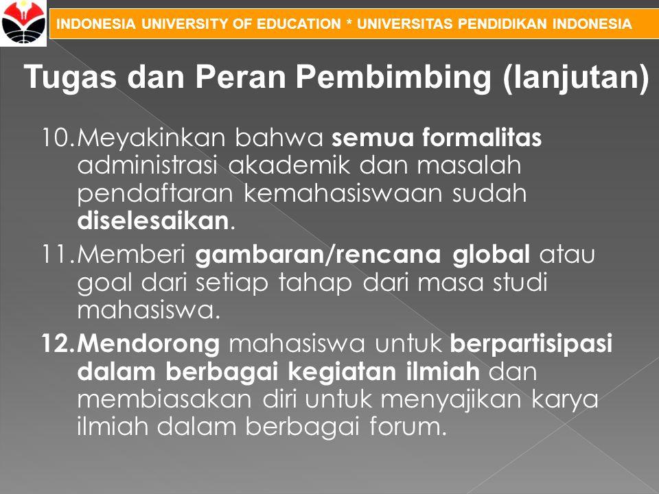 INDONESIA UNIVERSITY OF EDUCATION * UNIVERSITAS PENDIDIKAN INDONESIA 10.Meyakinkan bahwa semua formalitas administrasi akademik dan masalah pendaftara