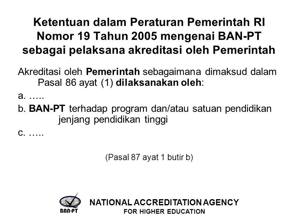 Ketentuan dalam Peraturan Pemerintah RI Nomor 19 Tahun 2005 mengenai BAN-PT sebagai pelaksana akreditasi oleh Pemerintah Akreditasi oleh Pemerintah sebagaimana dimaksud dalam Pasal 86 ayat (1) dilaksanakan oleh: a.