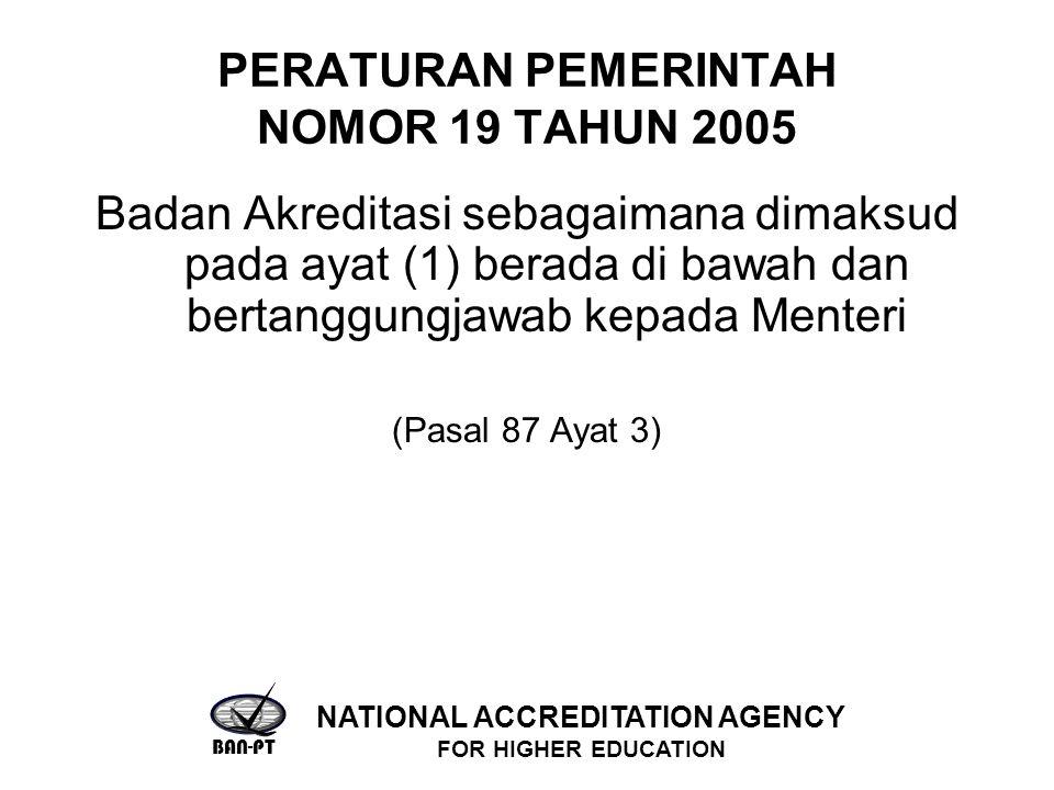PERATURAN PEMERINTAH NOMOR 19 TAHUN 2005 Badan Akreditasi sebagaimana dimaksud pada ayat (1) berada di bawah dan bertanggungjawab kepada Menteri (Pasal 87 Ayat 3) BAN-PT NATIONAL ACCREDITATION AGENCY FOR HIGHER EDUCATION