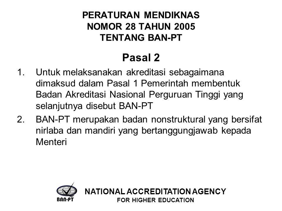PERATURAN MENDIKNAS NOMOR 28 TAHUN 2005 TENTANG BAN-PT Pasal 2 1.Untuk melaksanakan akreditasi sebagaimana dimaksud dalam Pasal 1 Pemerintah membentuk Badan Akreditasi Nasional Perguruan Tinggi yang selanjutnya disebut BAN-PT 2.BAN-PT merupakan badan nonstruktural yang bersifat nirlaba dan mandiri yang bertanggungjawab kepada Menteri BAN-PT NATIONAL ACCREDITATION AGENCY FOR HIGHER EDUCATION