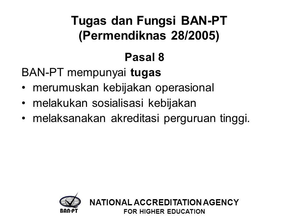 Tugas dan Fungsi BAN-PT (Permendiknas 28/2005) Pasal 8 BAN-PT mempunyai tugas merumuskan kebijakan operasional melakukan sosialisasi kebijakan melaksanakan akreditasi perguruan tinggi.