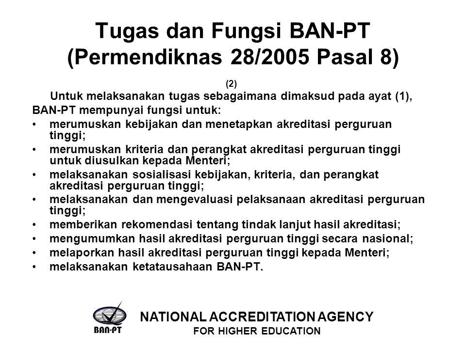Tugas dan Fungsi BAN-PT (Permendiknas 28/2005 Pasal 8) (2) Untuk melaksanakan tugas sebagaimana dimaksud pada ayat (1), BAN-PT mempunyai fungsi untuk: