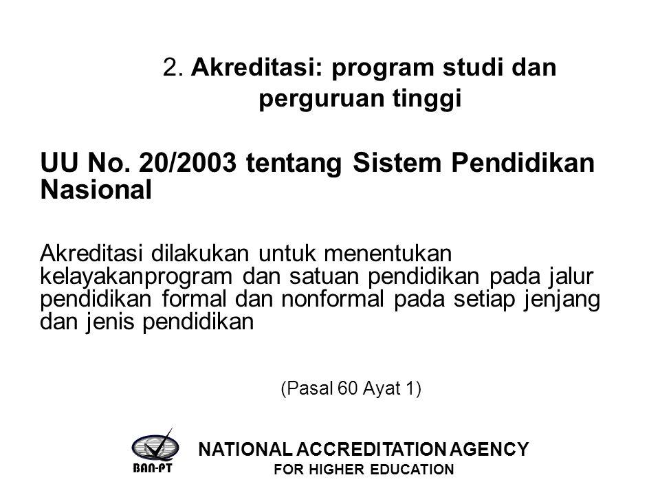 2. Akreditasi: program studi dan perguruan tinggi UU No. 20/2003 tentang Sistem Pendidikan Nasional Akreditasi dilakukan untuk menentukan kelayakanpro
