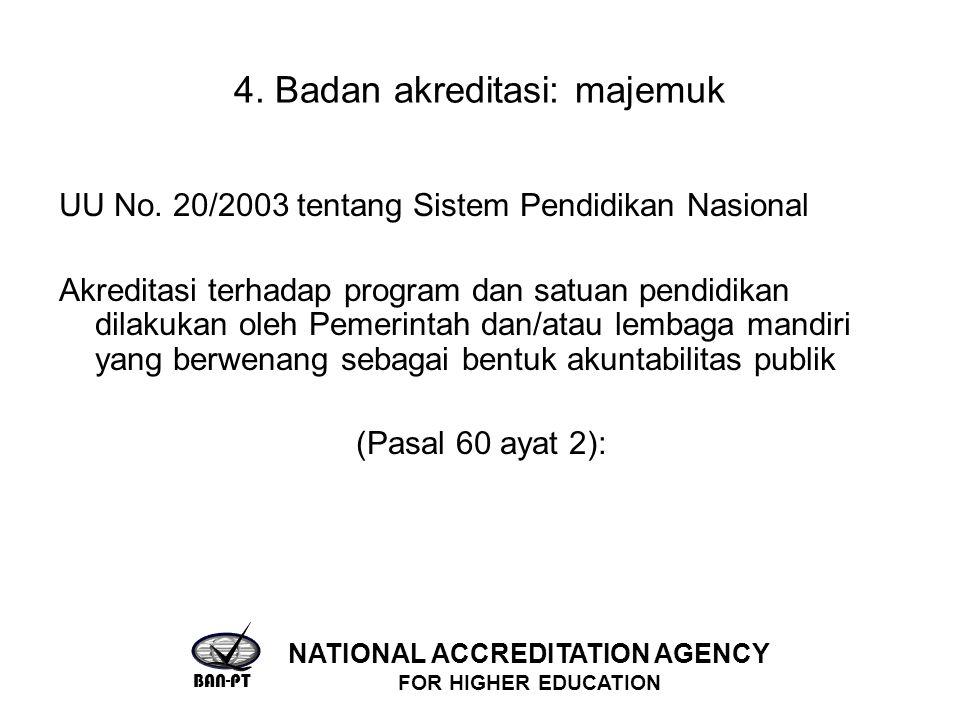 4. Badan akreditasi: majemuk UU No. 20/2003 tentang Sistem Pendidikan Nasional Akreditasi terhadap program dan satuan pendidikan dilakukan oleh Pemeri