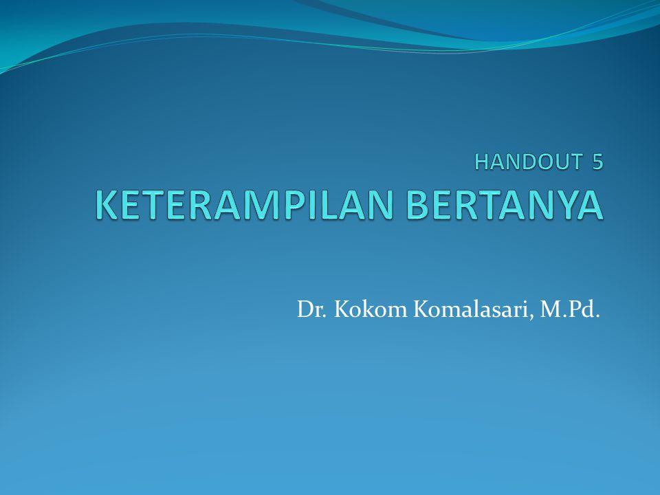 PERAN PENTING BERTANYA 1.Meningkatkan partisipasi siswa dalam KBM 2.